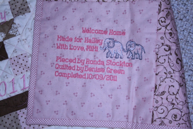 the label for Hailey's quilt