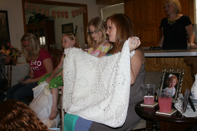love this sweet white crocheted blanket
