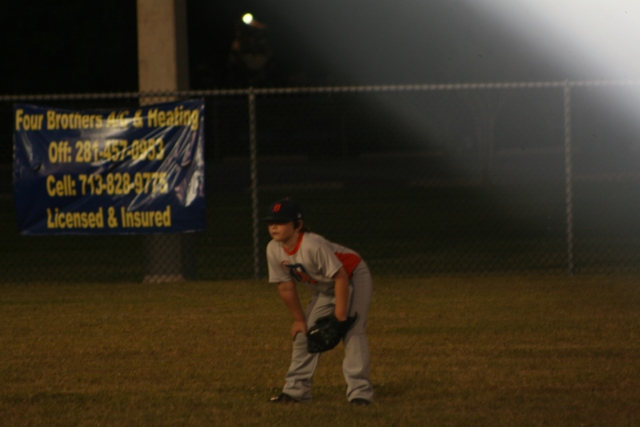 Jaiden waiting for a ball in centerfield