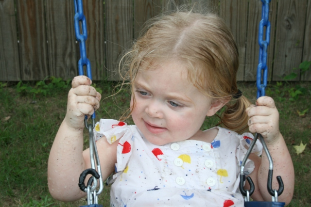 she was having fun swinging