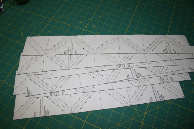 half square triangles before they are cut up