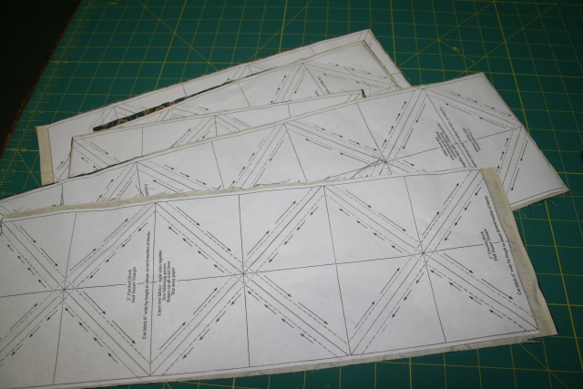 my half squares all ready to cut up