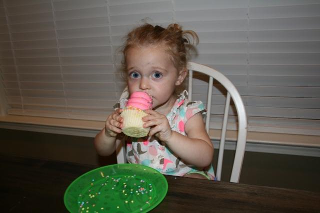 her birthday cupcake