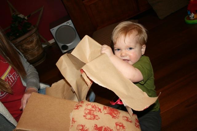 Wyatt opening his gift