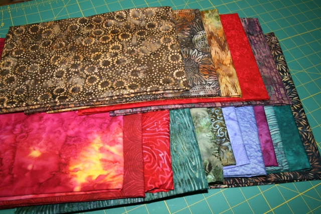 my fabric for my batik Faceted Jewels