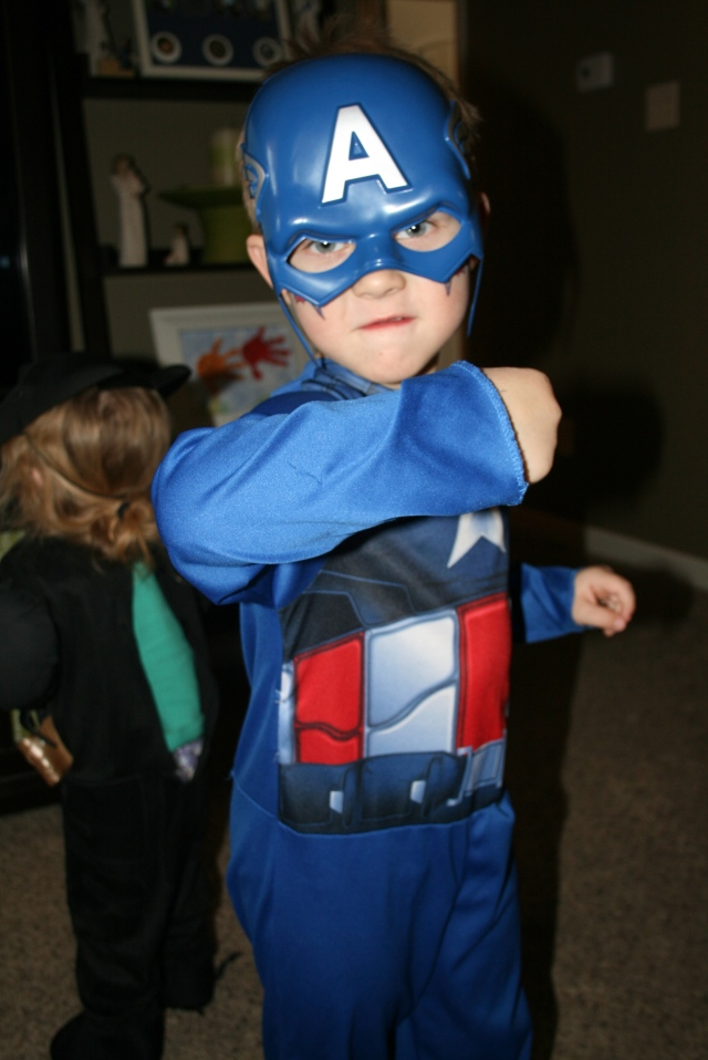 Capt America showing off his muscles