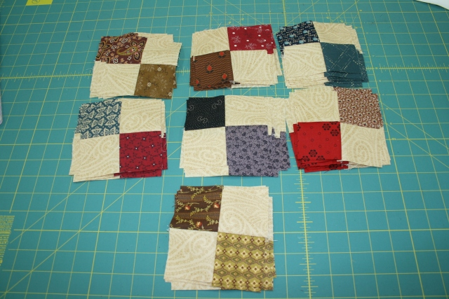 my 4-patches for my Faceted Jewels quilt