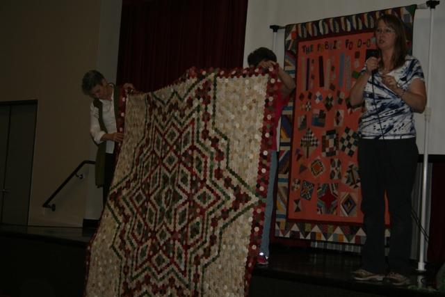 this is Bonnie Hexie quilt she has been working on for the last 14 years, it is stunning