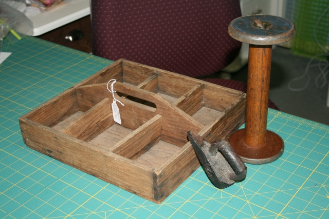 tray, iron and spool