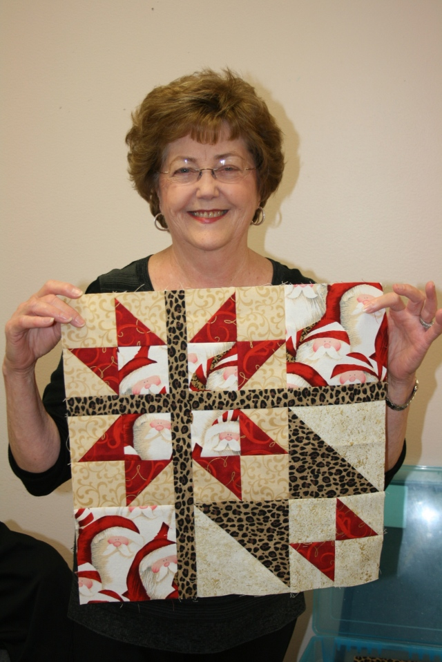 Delores and her block, I loved the Christmas fabric