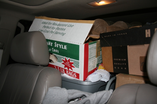 my car all packed from head