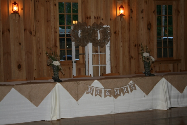 the wedding party seating area