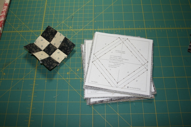 one 9 patch and 6 half-squares sewn