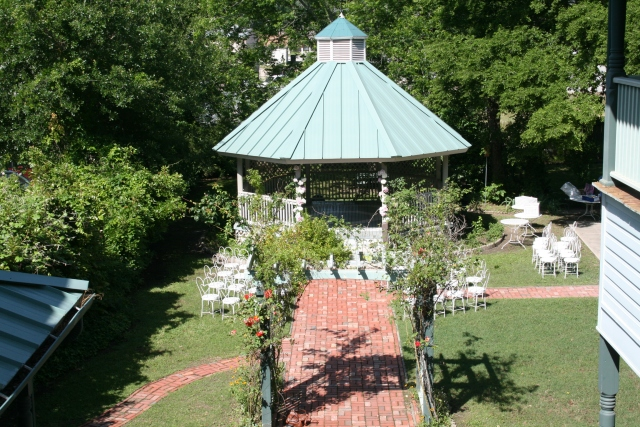 the gazebo is ready for a wedding