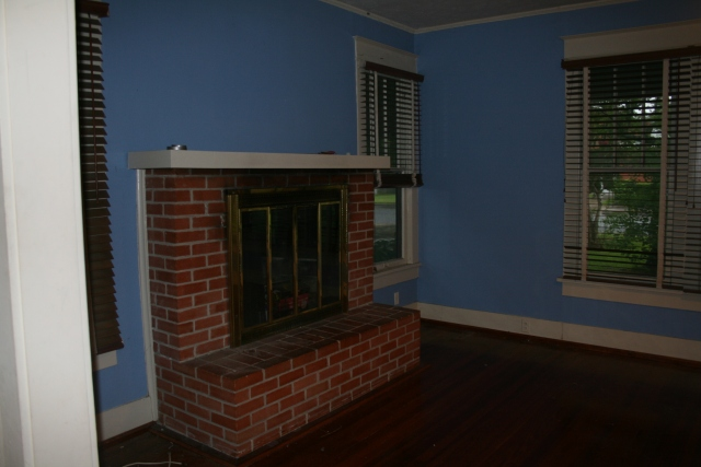 fireplace in den