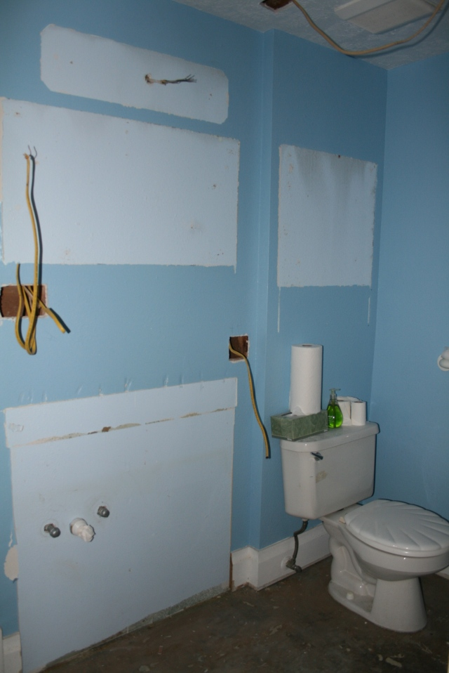the master bath vanity and uppers are gone