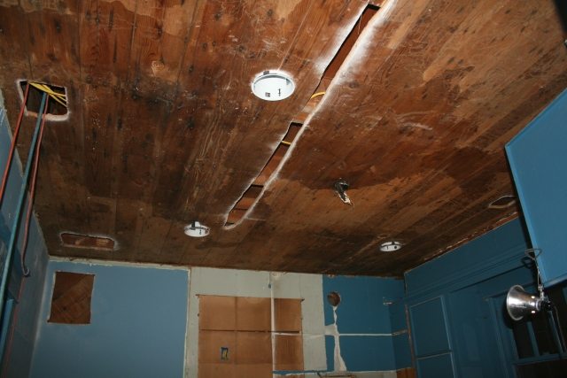 the ceiling is now all wood