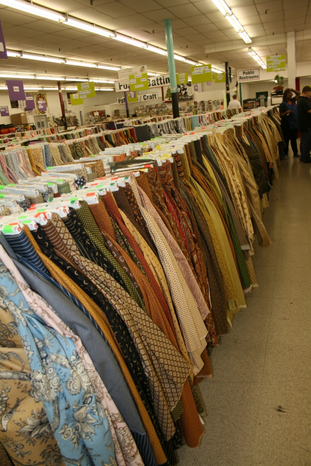look at the rows of fabric