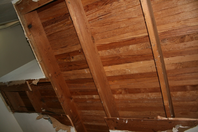 the is the ceiling or the floor below the new upstairs bath