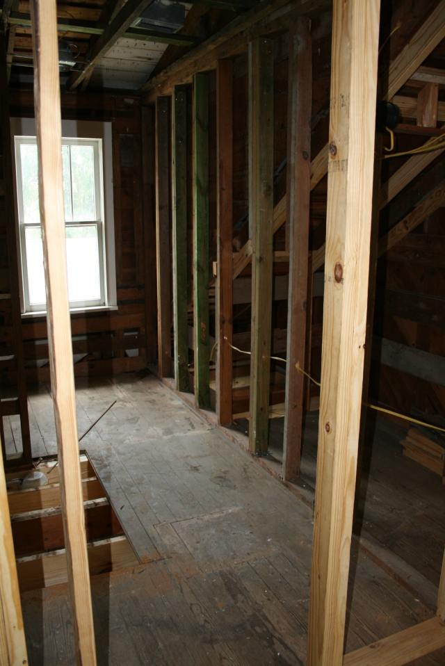 upstairs bath without old walls