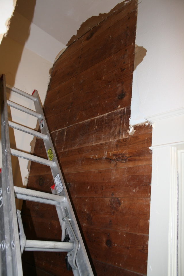 sheetrock removal in the landing