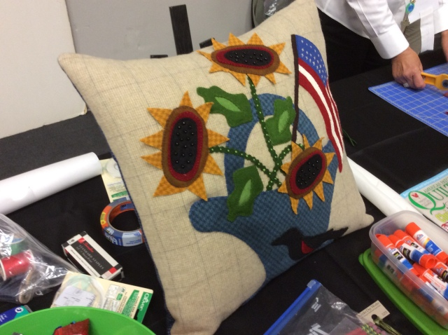 her project done in a pillow