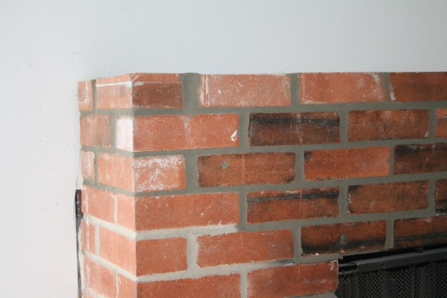 a closer view of the fireplace repair