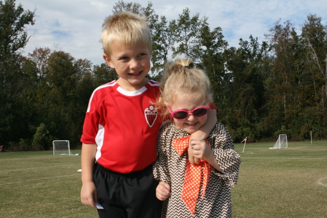 Hunter and Hailey at the soccer game