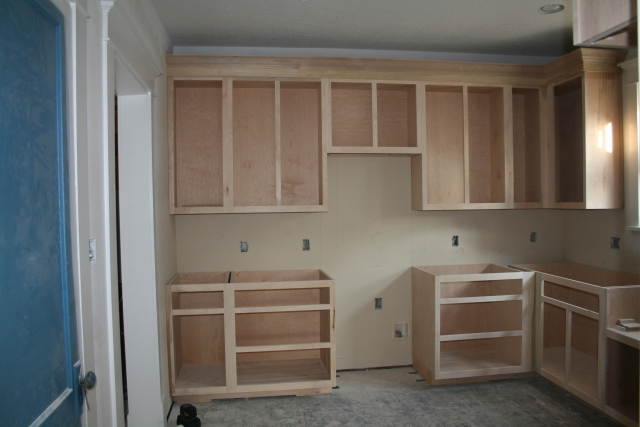 the back wall of cabinets