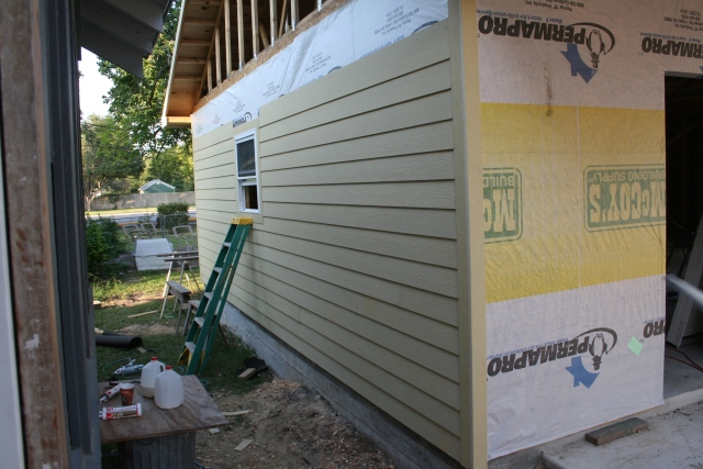 some of the siding is on