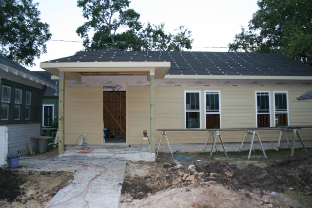 the front with the new siding