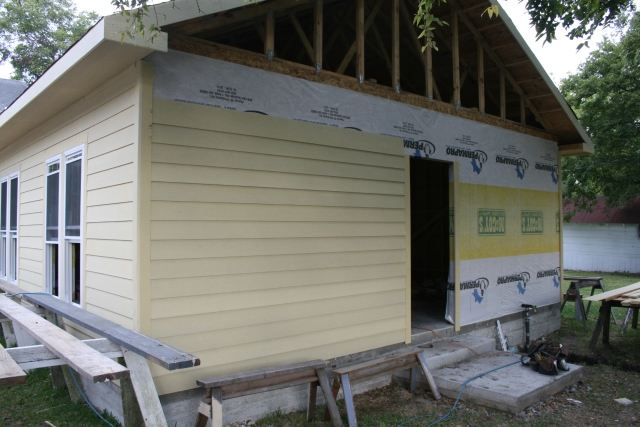 some siding on the back