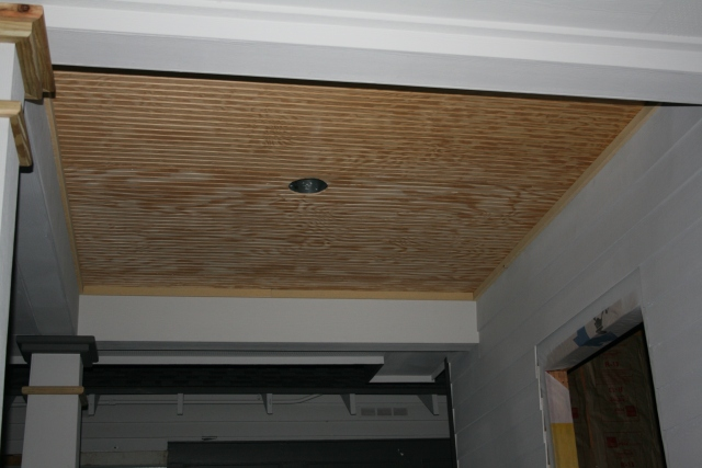 ceiling on the new front porch