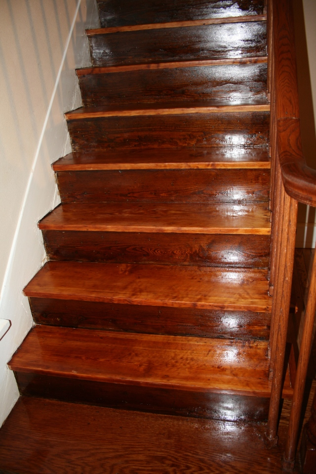 varnish and stain on the stairs