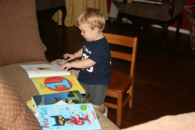 Wyatt reading - he pulled all the books