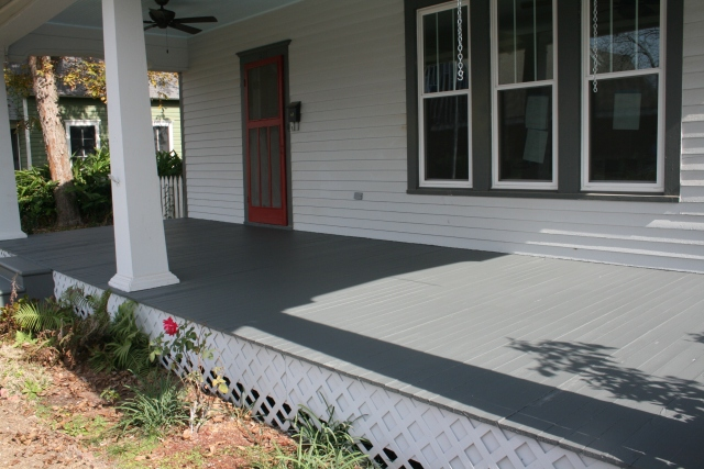 newly painted front porch floor
