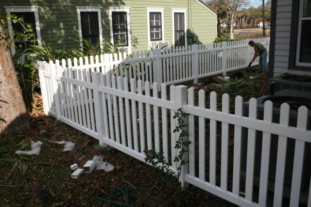 the fence line along the front