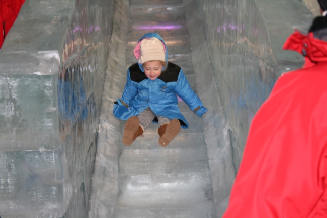 Hailey on the ice slide