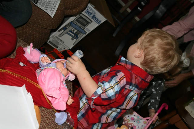 doll and Wyatt - I think he is going to make a good daddy one day