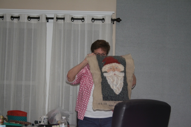 Lynn's wool hooking Santa