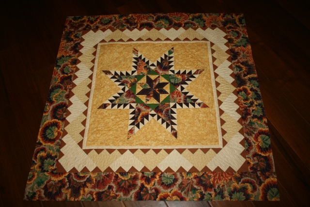 my feathered star quilted