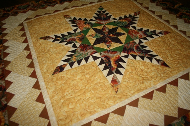 another view of the Feathered Star quilting