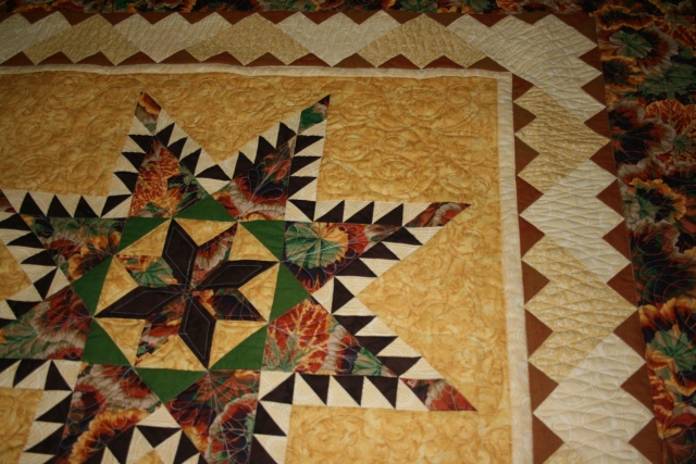 more quilting on the Feathered star
