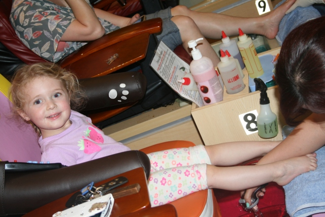Hailey's first pedicure