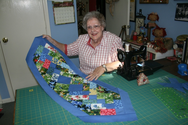 Mom and her tablerunner