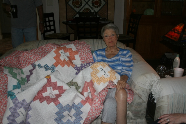 Sandy and her new quilt