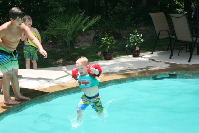 Wyatt jumping off the diving board
