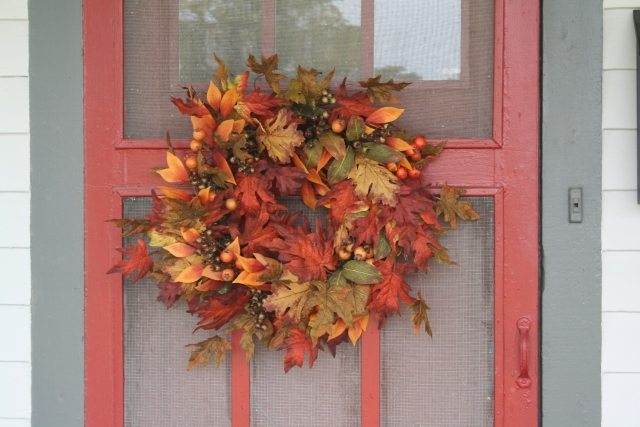 my new fall wreath for the retreat house