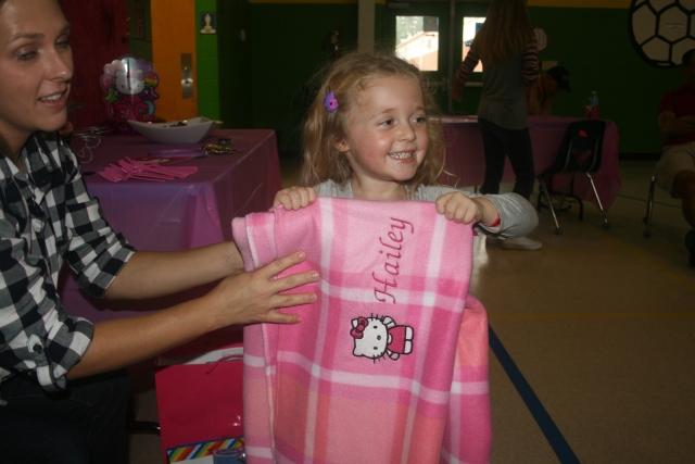 Hailey loved her new blanket Aunt Pattie
