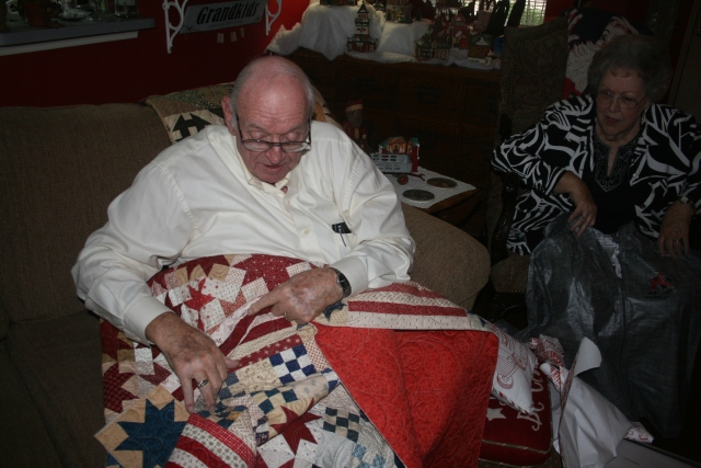 Dad and his quilt
